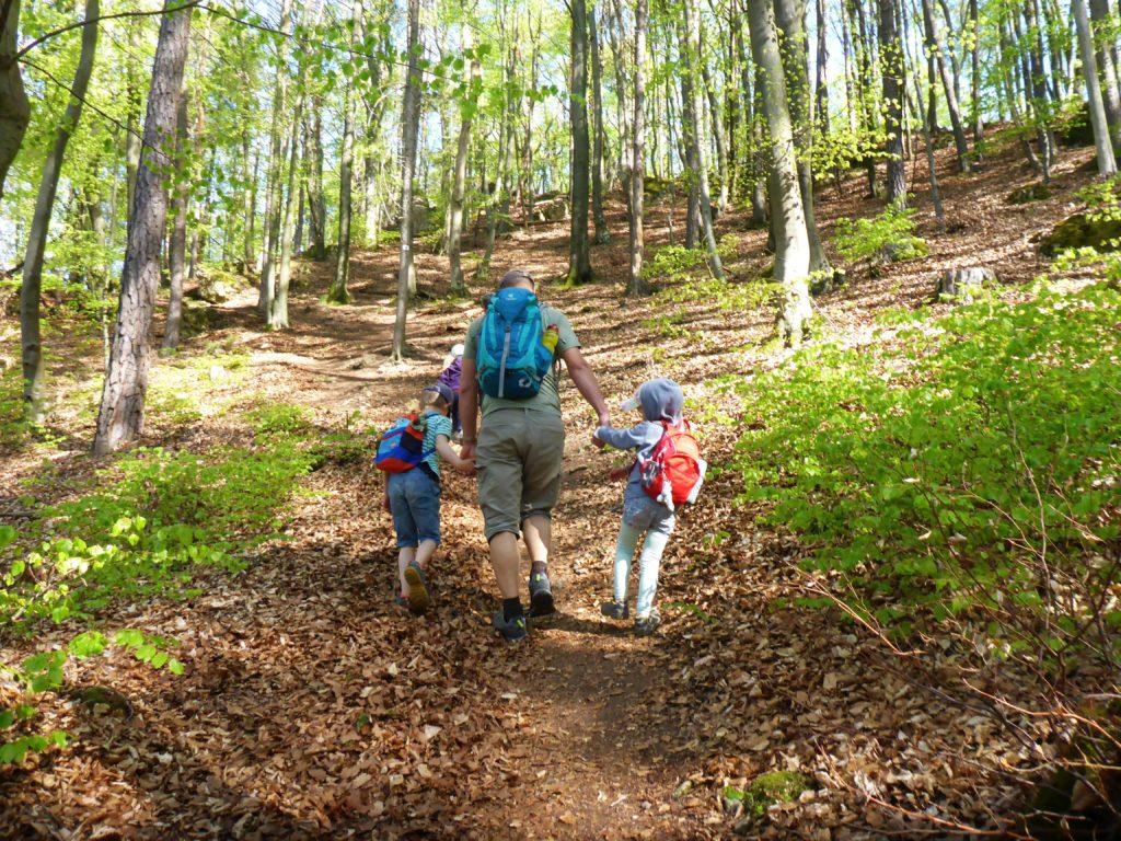 Familie im Wald unterwegs